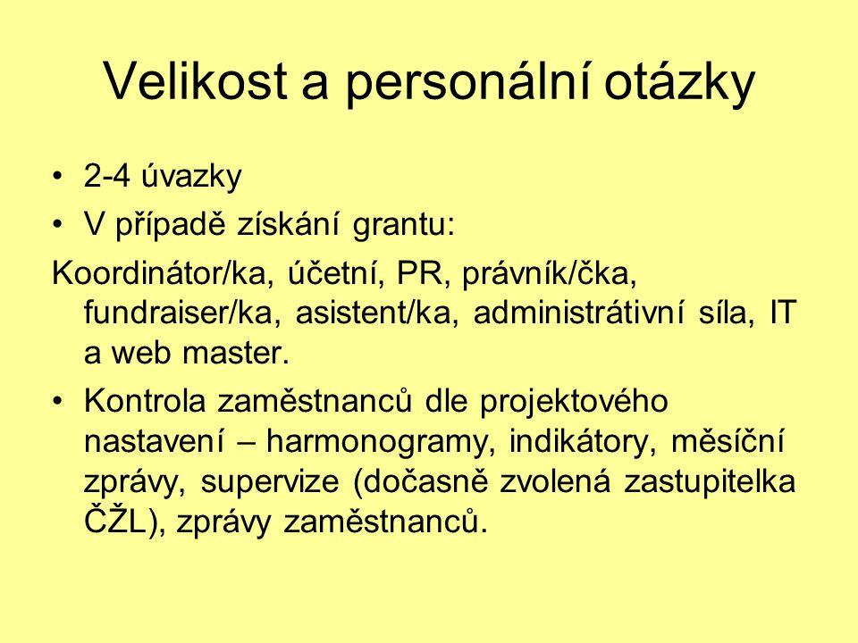 Velikost a personální otázky 2-4 úvazky V případě získání grantu: Koordinátor/ka, účetní, PR, právník/čka, fundraiser/ka, asistent/ka, administrátivní síla, IT a web master.