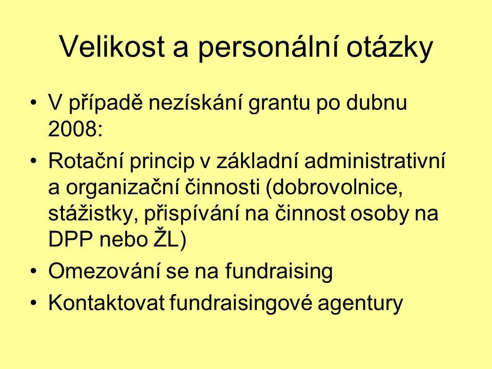 Velikost a personální otázky V případě nezískání grantu po dubnu 2008: Rotační princip v základní administrativní a organizační činnosti (dobrovolnice, stážistky, přispívání na činnost osoby na DPP nebo ŽL) Omezování se na fundraising Kontaktovat fundraisingové agentury