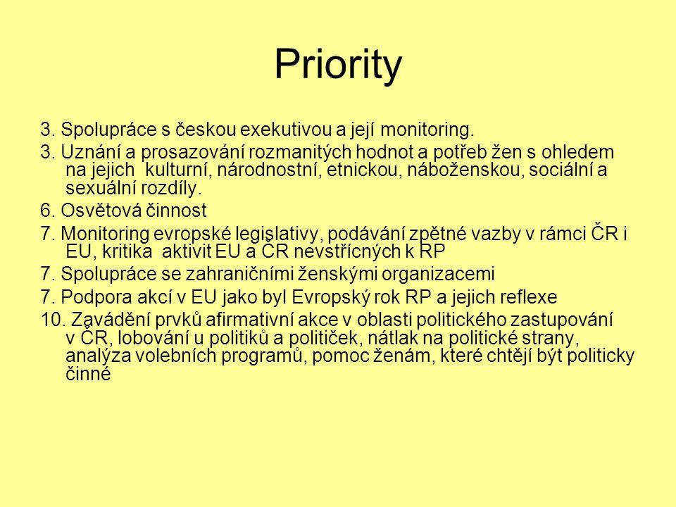 Priority 3. Spolupráce s českou exekutivou a její monitoring.