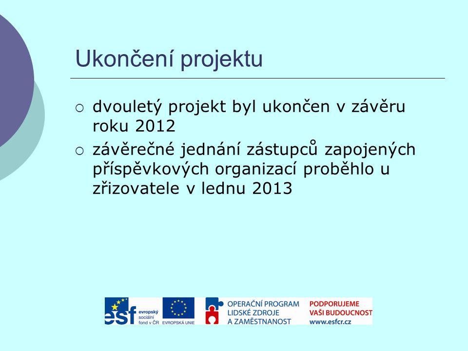 Ukončení projektu  dvouletý projekt byl ukončen v závěru roku 2012  závěrečné jednání zástupců zapojených příspěvkových organizací proběhlo u zřizovatele v lednu 2013