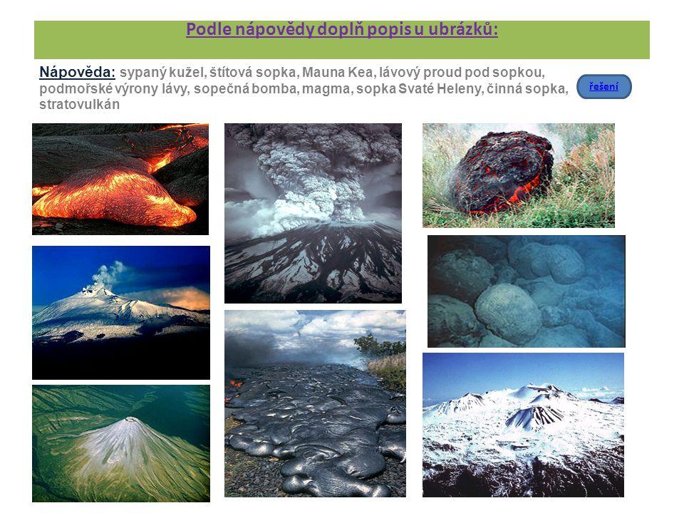 Podle nápovědy doplň popis u ubrázků: Nápověda : sypaný kužel, štítová sopka, Mauna Kea, lávový proud pod sopkou, podmořské výrony lávy, sopečná bomba