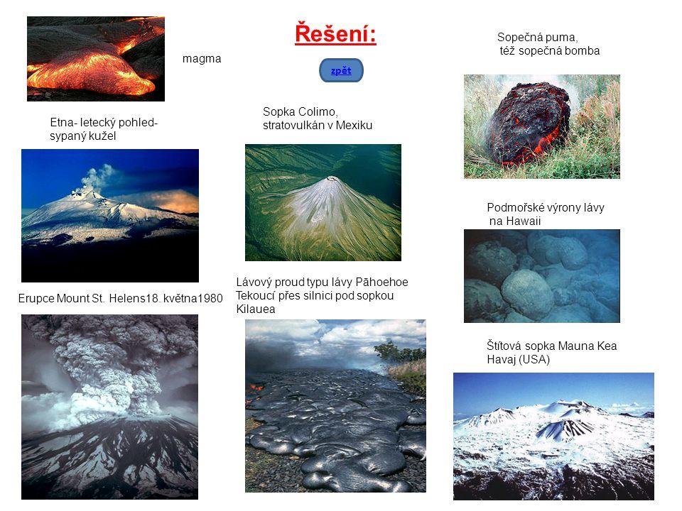 Etna- letecký pohled- sypaný kužel Sopka Colimo, stratovulkán v Mexiku Podmořské výrony lávy na Hawaii Erupce Mount St. Helens18. května1980 Lávový pr