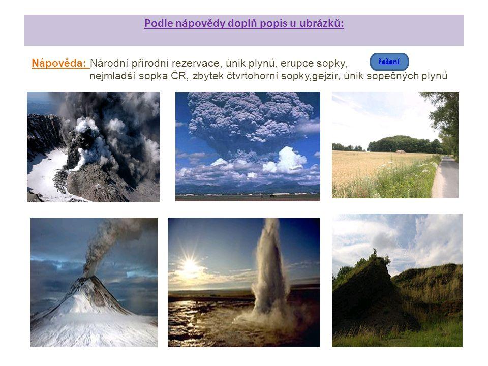 Podle nápovědy doplň popis u ubrázků: Nápověda: Národní přírodní rezervace, únik plynů, erupce sopky, nejmladší sopka ČR, zbytek čtvrtohorní sopky,gej