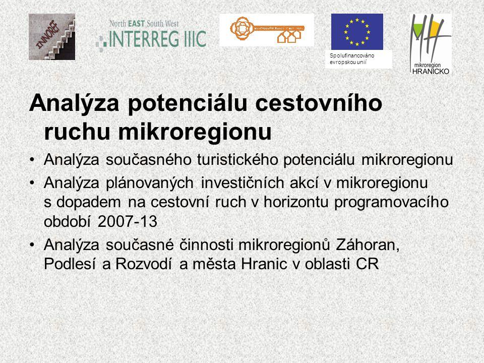 Analýza potenciálu cestovního ruchu mikroregionu Analýza současného turistického potenciálu mikroregionu Analýza plánovaných investičních akcí v mikroregionu s dopadem na cestovní ruch v horizontu programovacího období 2007-13 Analýza současné činnosti mikroregionů Záhoran, Podlesí a Rozvodí a města Hranic v oblasti CR Spolufinancováno evropskou unií