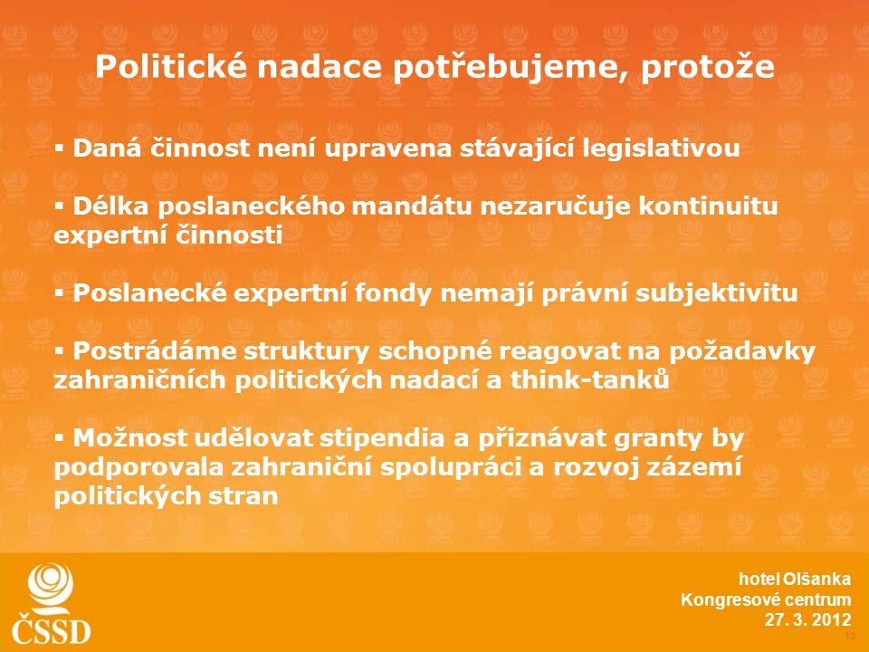 Politické nadace potřebujeme, protože 13 hotel Olšanka Kongresové centrum 27.