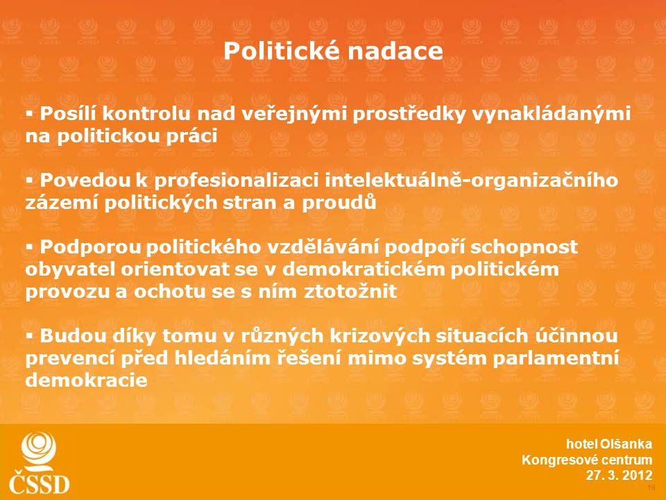 Politické nadace 16 hotel Olšanka Kongresové centrum 27.
