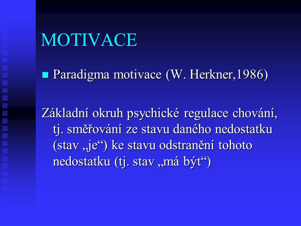 MOTIVACE Paradigma motivace (W. Herkner,1986) Paradigma motivace (W. Herkner,1986) Základní okruh psychické regulace chování, tj. směřování ze stavu d