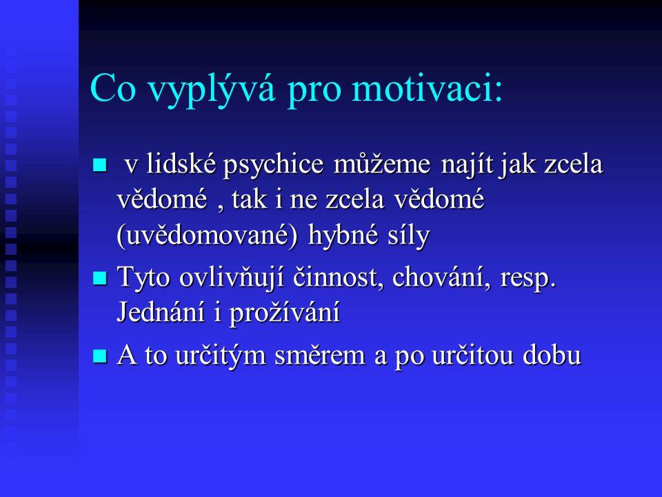 Co vyplývá pro motivaci: v lidské psychice můžeme najít jak zcela vědomé, tak i ne zcela vědomé (uvědomované) hybné síly v lidské psychice můžeme nají