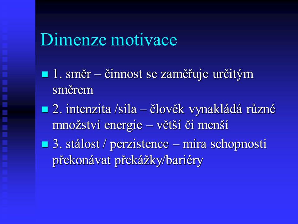 Dimenze motivace 1. směr – činnost se zaměřuje určitým směrem 1. směr – činnost se zaměřuje určitým směrem 2. intenzita /síla – člověk vynakládá různé