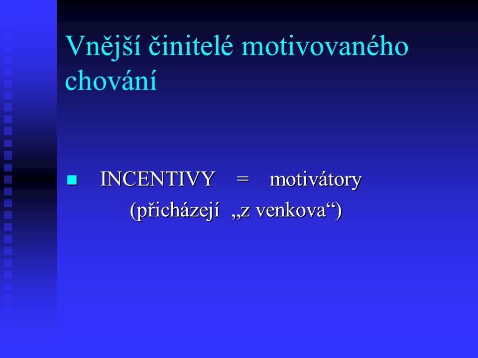 """Vnější činitelé motivovaného chování INCENTIVY = motivátory INCENTIVY = motivátory (přicházejí """"z venkova"""") (přicházejí """"z venkova"""")"""