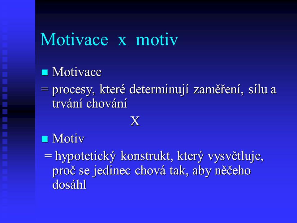 Motivace x motiv Motivace Motivace = procesy, které determinují zaměření, sílu a trvání chování X Motiv Motiv = hypotetický konstrukt, který vysvětluj