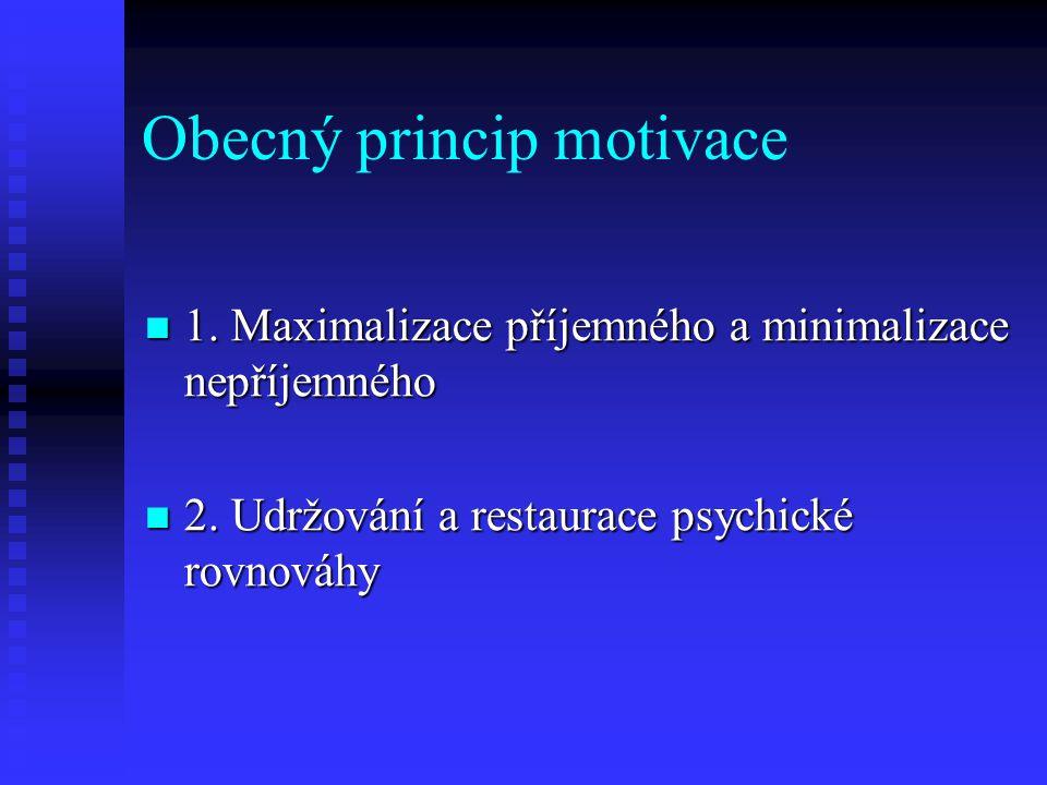 Obecný princip motivace 1. Maximalizace příjemného a minimalizace nepříjemného 1. Maximalizace příjemného a minimalizace nepříjemného 2. Udržování a r
