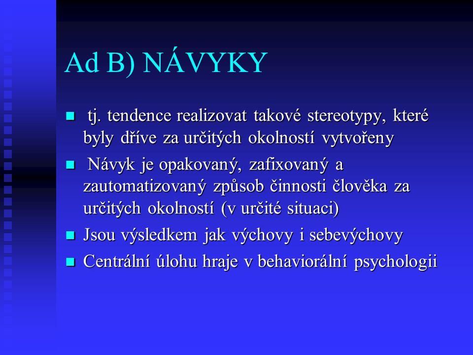 Ad B) NÁVYKY tj. tendence realizovat takové stereotypy, které byly dříve za určitých okolností vytvořeny tj. tendence realizovat takové stereotypy, kt