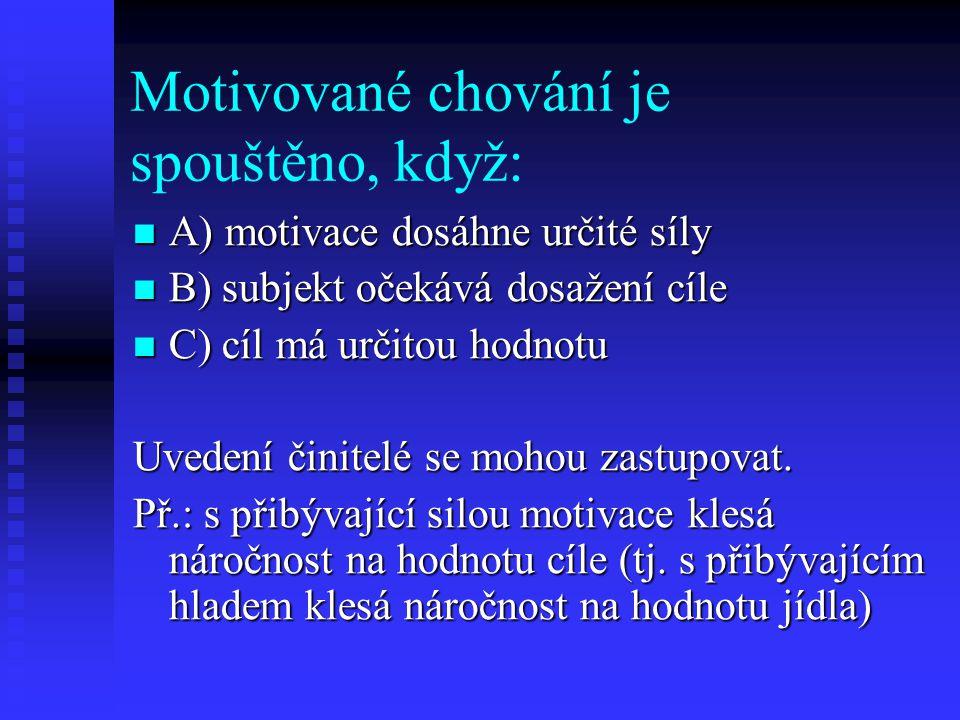 Motivované chování je spouštěno, když: A) motivace dosáhne určité síly A) motivace dosáhne určité síly B) subjekt očekává dosažení cíle B) subjekt oče