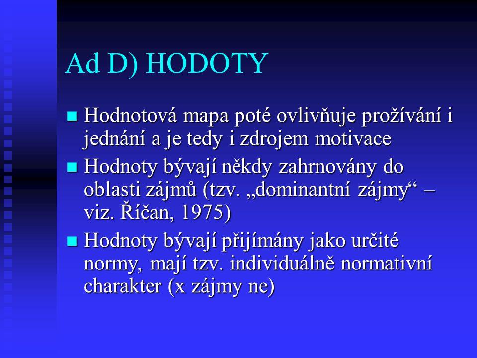 Ad D) HODOTY Hodnotová mapa poté ovlivňuje prožívání i jednání a je tedy i zdrojem motivace Hodnotová mapa poté ovlivňuje prožívání i jednání a je ted