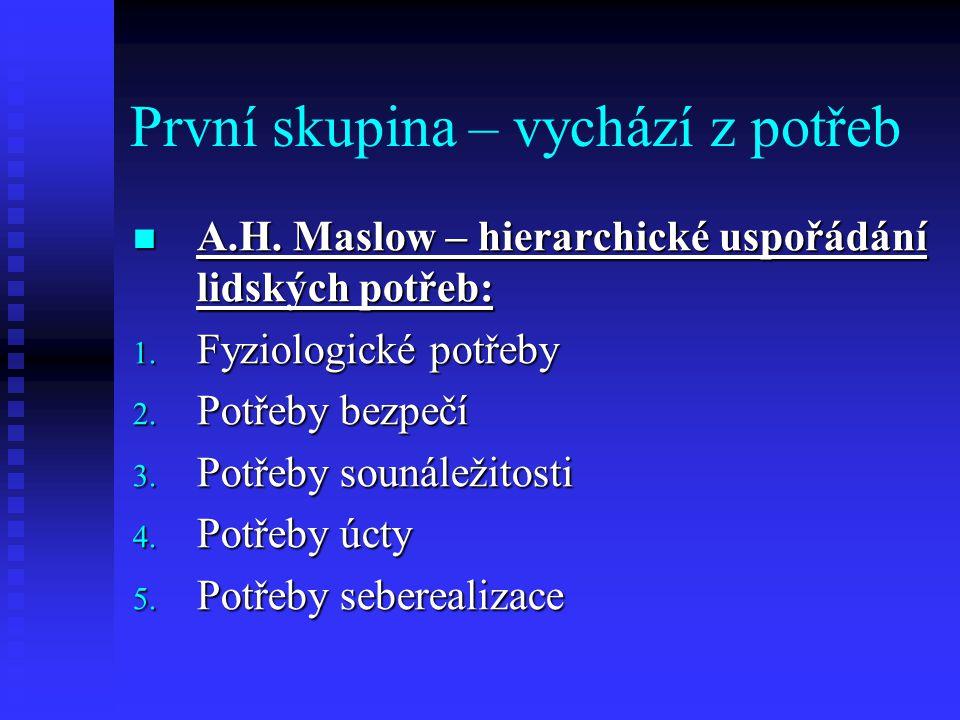 První skupina – vychází z potřeb A.H. Maslow – hierarchické uspořádání lidských potřeb: A.H. Maslow – hierarchické uspořádání lidských potřeb: 1. Fyzi