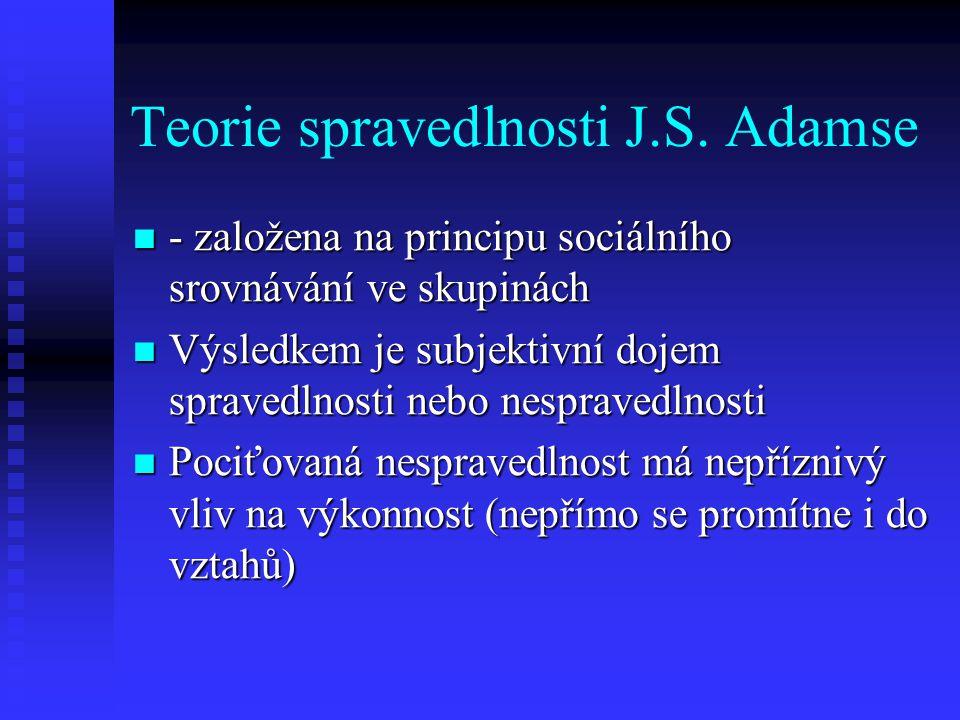 Teorie spravedlnosti J.S. Adamse - založena na principu sociálního srovnávání ve skupinách - založena na principu sociálního srovnávání ve skupinách V