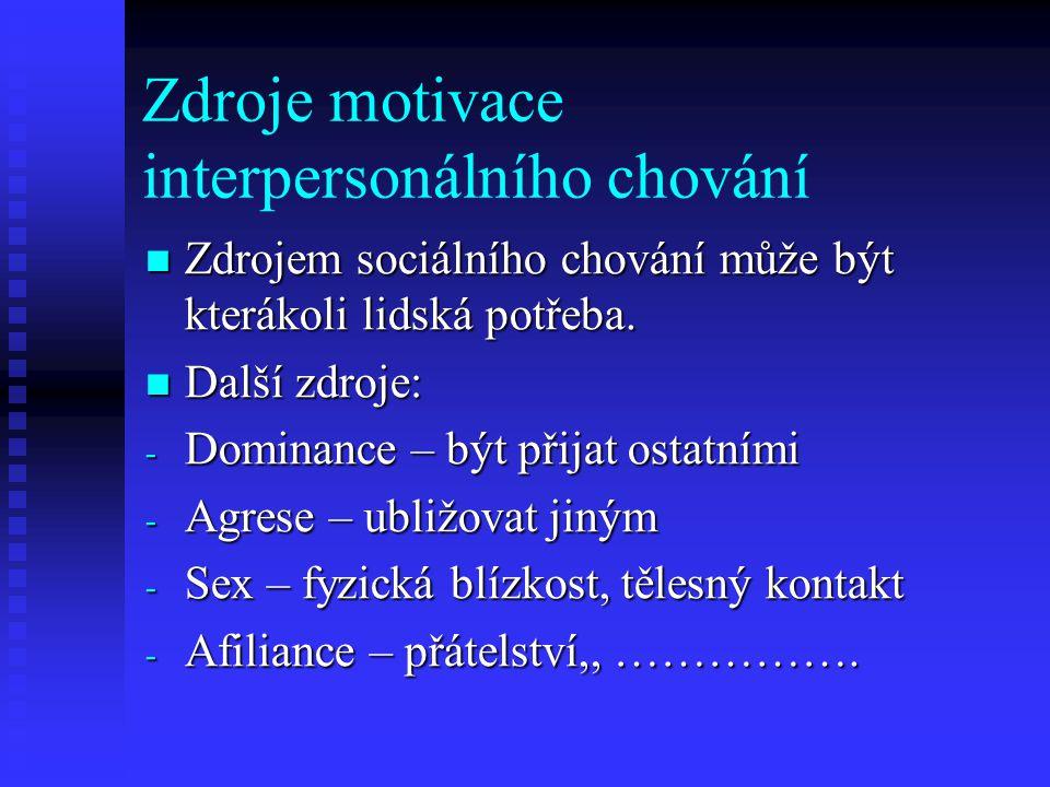 Zdroje motivace interpersonálního chování Zdrojem sociálního chování může být kterákoli lidská potřeba. Zdrojem sociálního chování může být kterákoli