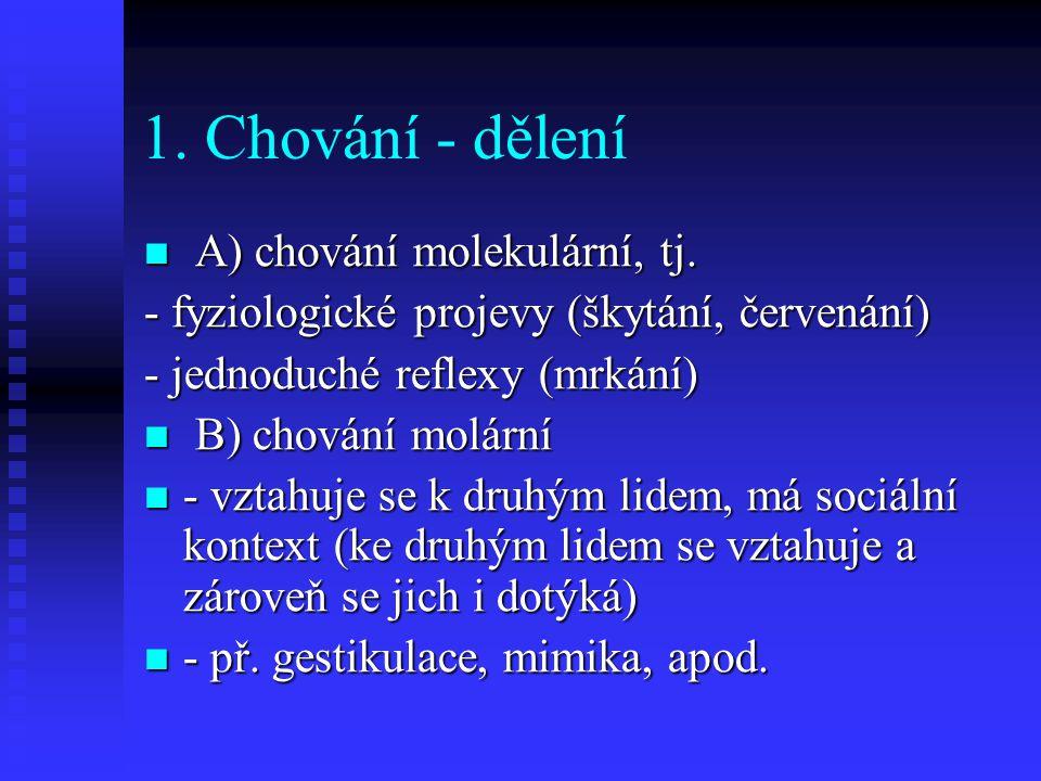 1. Chování - dělení A) chování molekulární, tj. A) chování molekulární, tj. - fyziologické projevy (škytání, červenání) - jednoduché reflexy (mrkání)