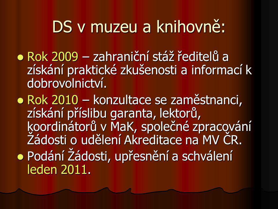 DS v muzeu a knihovně: Rok 2009 – zahraniční stáž ředitelů a získání praktické zkušenosti a informací k dobrovolnictví.