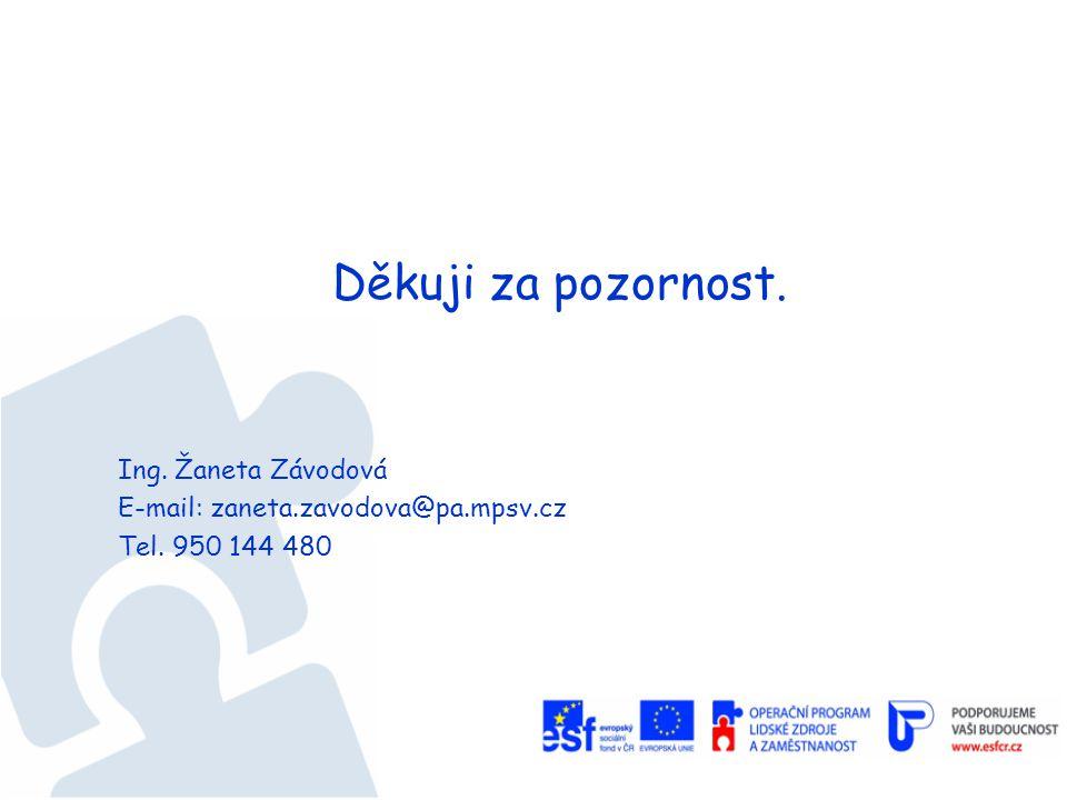 Děkuji za pozornost. Ing. Žaneta Závodová E-mail: zaneta.zavodova@pa.mpsv.cz Tel. 950 144 480