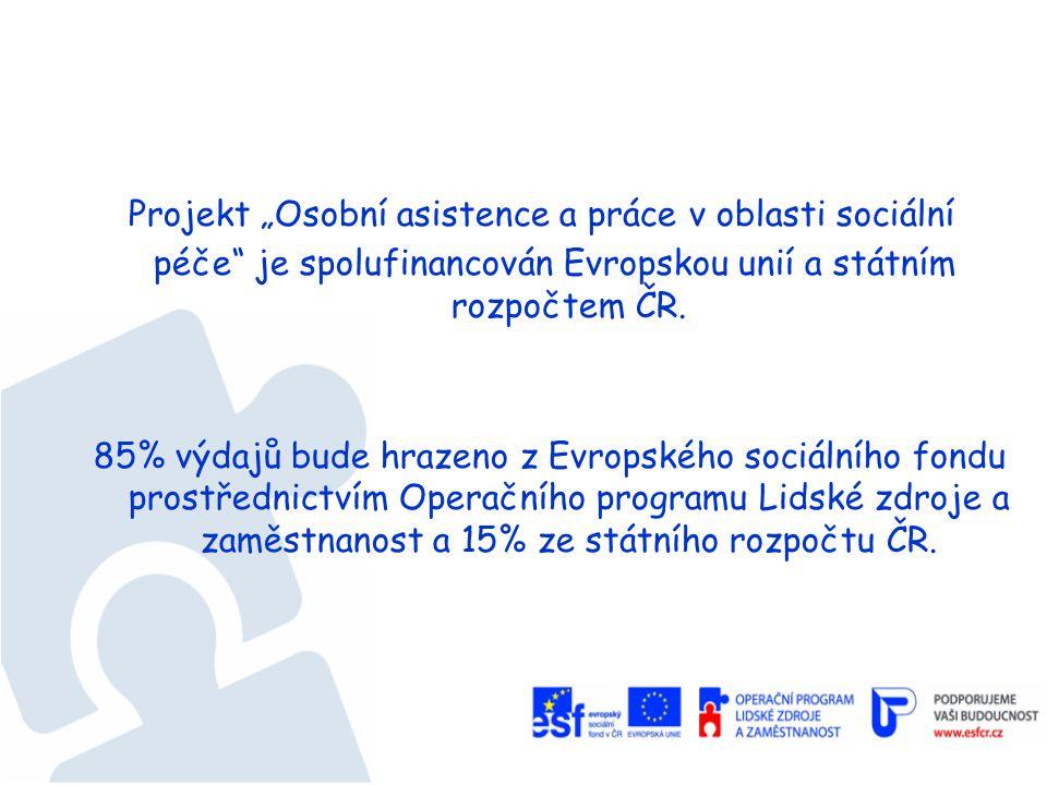 """Projekt """"Osobní asistence a práce v oblasti sociální péče je spolufinancován Evropskou unií a státním rozpočtem ČR."""