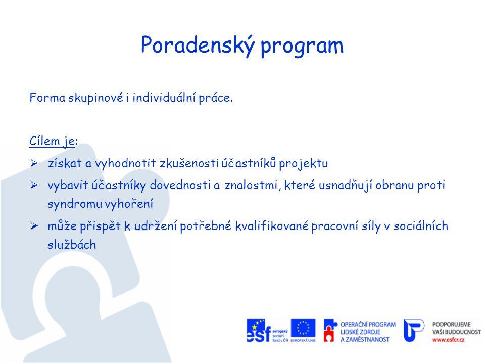 Poradenský program Forma skupinové i individuální práce.