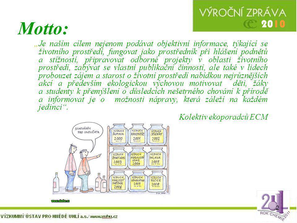 """2 Motto: """"Je naším cílem nejenom podávat objektivní informace, týkající se životního prostředí, fungovat jako prostředník při hlášení podnětů a stížno"""