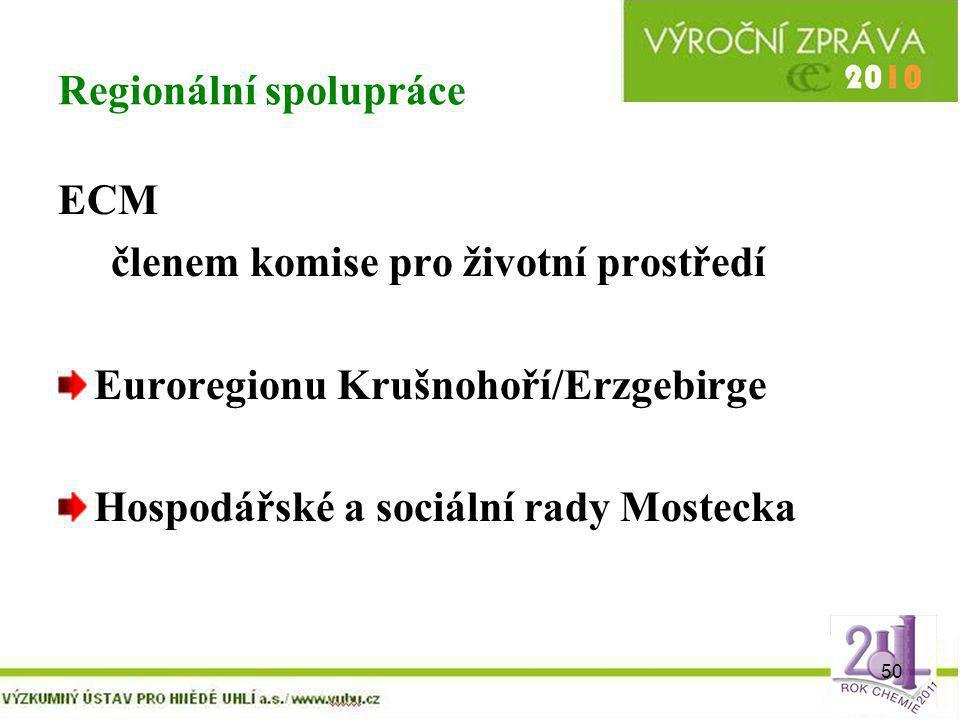 50 Regionální spolupráce ECM členem komise pro životní prostředí Euroregionu Krušnohoří/Erzgebirge Hospodářské a sociální rady Mostecka