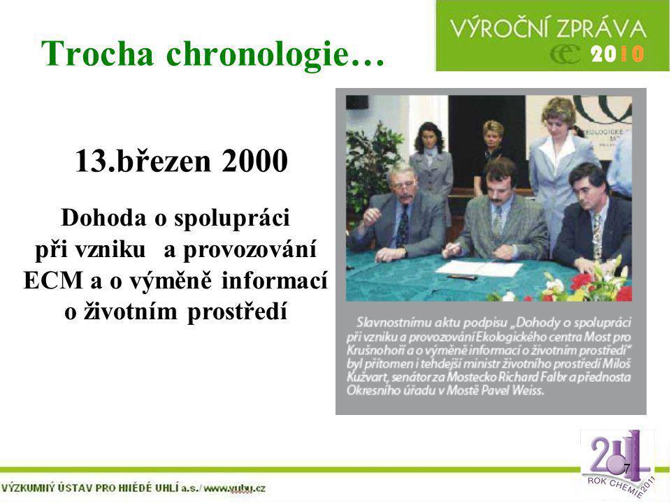 7 Trocha chronologie… 13.březen 2000 Dohoda o spolupráci při vzniku a provozování ECM a o výměně informací o životním prostředí