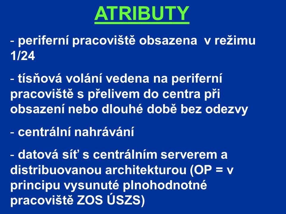 ATRIBUTY - periferní pracoviště obsazena v režimu 1/24 - tísňová volání vedena na periferní pracoviště s přelivem do centra při obsazení nebo dlouhé době bez odezvy - centrální nahrávání - datová síť s centrálním serverem a distribuovanou architekturou (OP = v principu vysunuté plnohodnotné pracoviště ZOS ÚSZS)