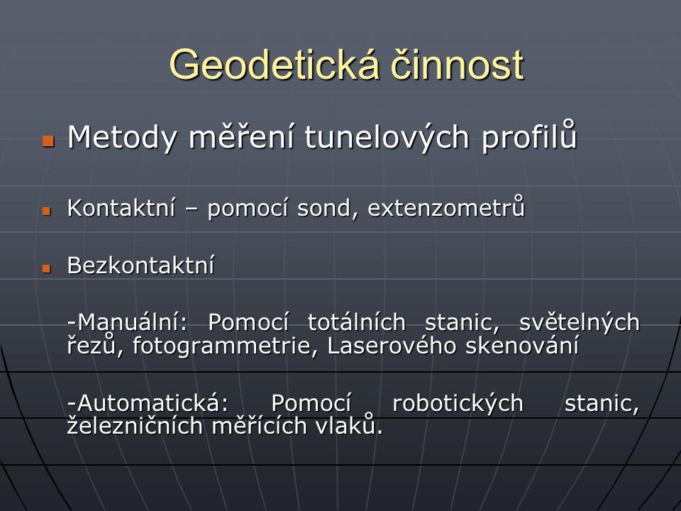 Geodetická činnost Metody měření tunelových profilů Metody měření tunelových profilů Kontaktní – pomocí sond, extenzometrů Kontaktní – pomocí sond, ex