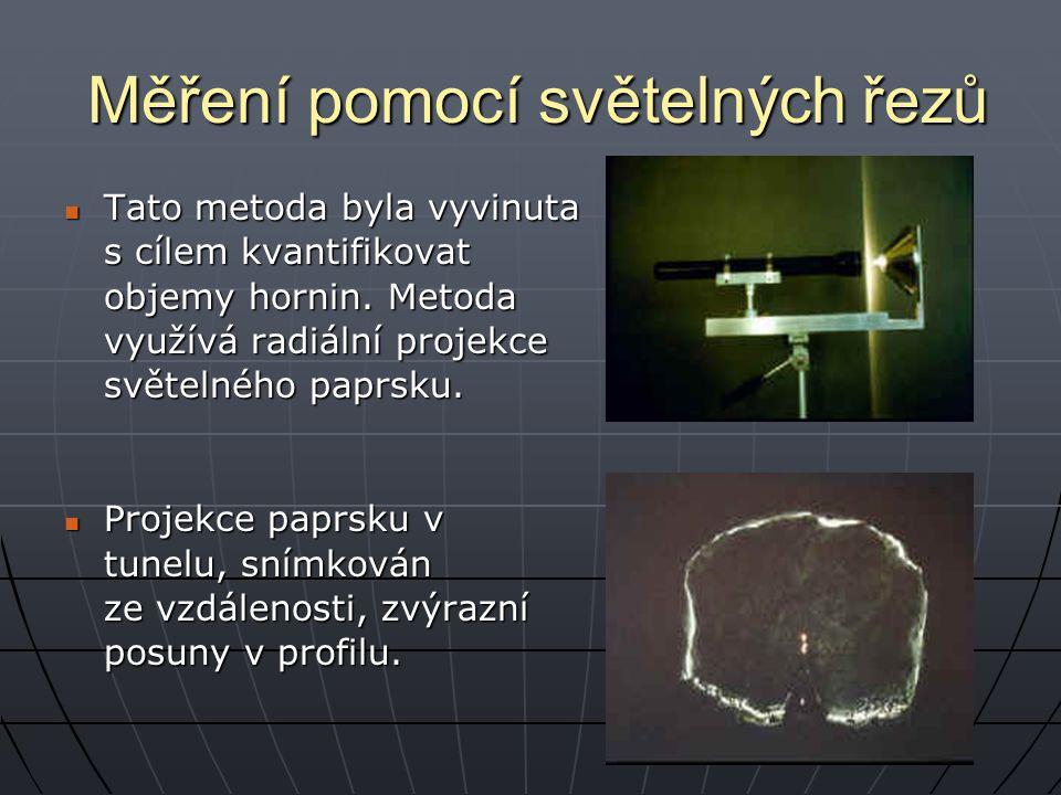 Měření pomocí světelných řezů Tato metoda byla vyvinuta Tato metoda byla vyvinuta s cílem kvantifikovat objemy hornin. Metoda využívá radiální projekc