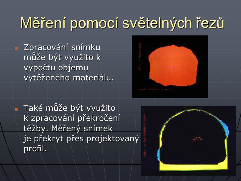Měření pomocí světelných řezů Zpracování snímku Zpracování snímku může být využito k výpočtu objemu vytěženého materiálu. Také může být využito Také m