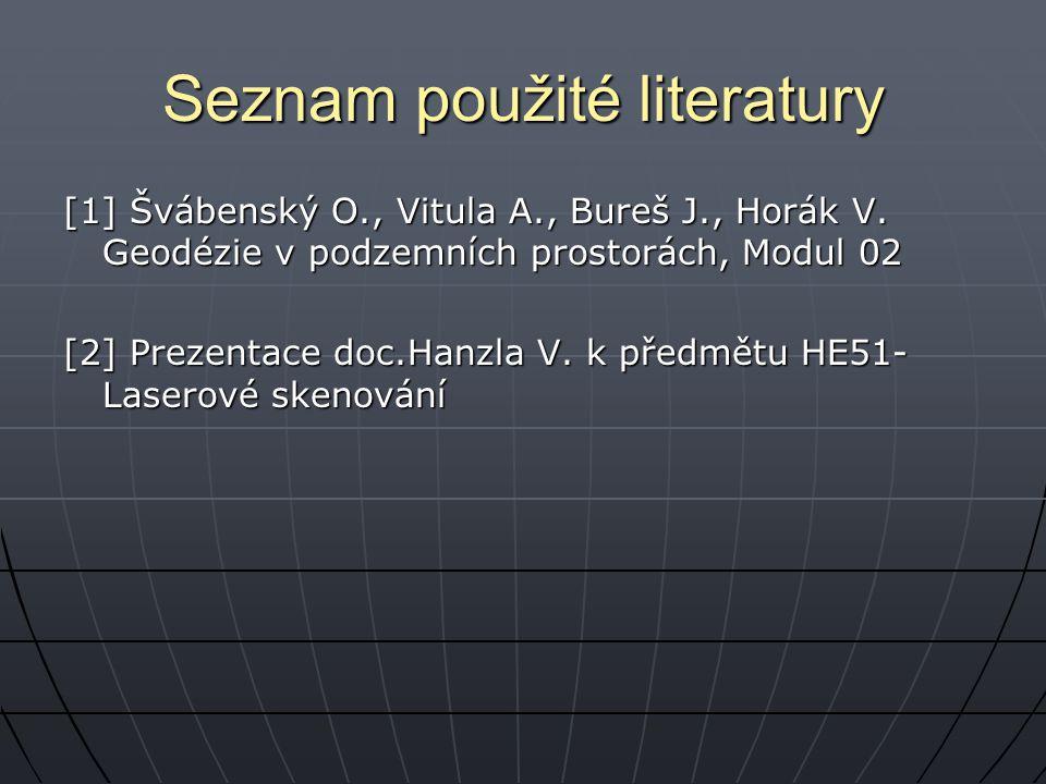 Seznam použité literatury [1] Švábenský O., Vitula A., Bureš J., Horák V. Geodézie v podzemních prostorách, Modul 02 [2] Prezentace doc.Hanzla V. k př