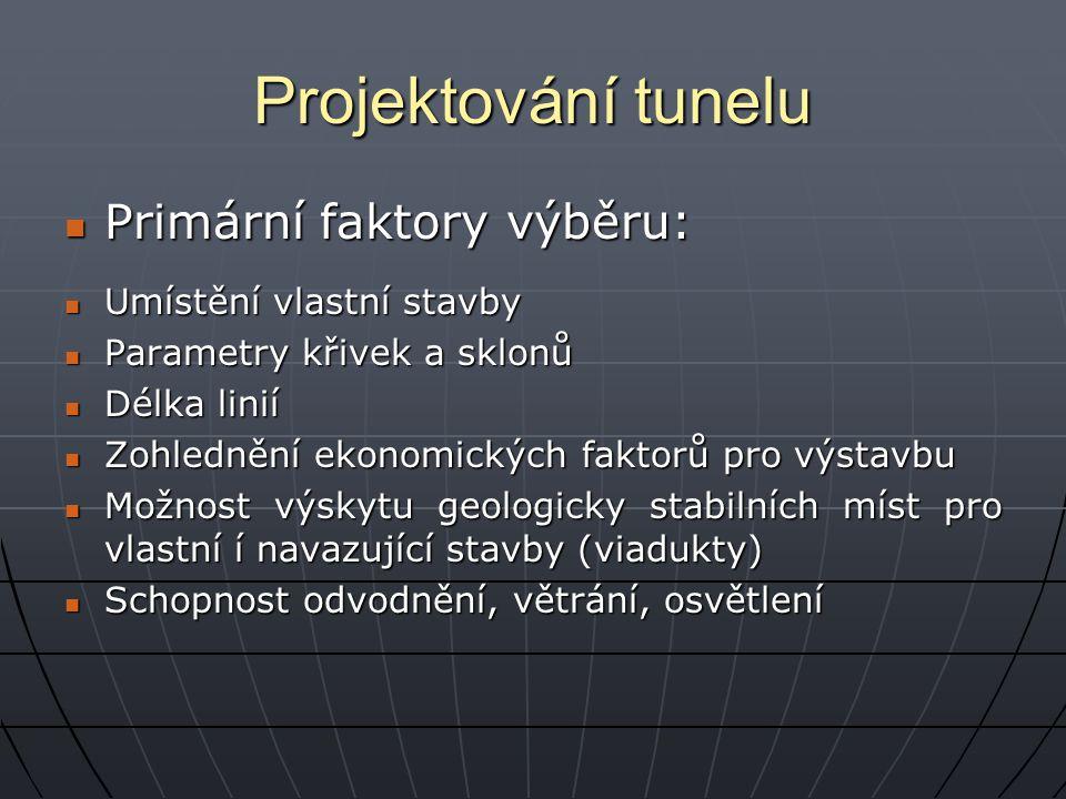 Projektování tunelu Primární faktory výběru: Primární faktory výběru: Umístění vlastní stavby Umístění vlastní stavby Parametry křivek a sklonů Parame