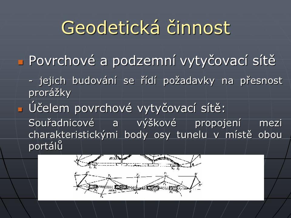 Geodetická činnost Podzemní tunelová vytyčovací síť: Podzemní tunelová vytyčovací síť: Tvořena volným polygonovým pořadem Tvořena volným polygonovým pořadem -Jednostranně připojeným a orientovaným pomocí bodů portálové sítě.