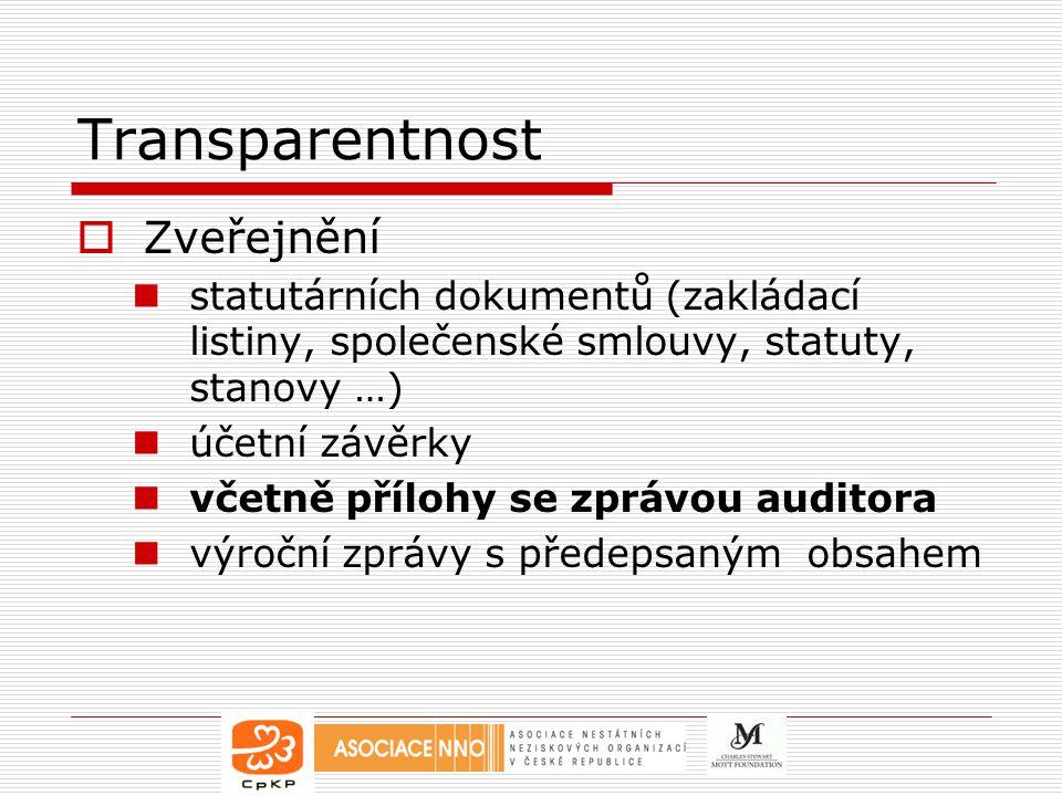 Transparentnost  Zveřejnění statutárních dokumentů (zakládací listiny, společenské smlouvy, statuty, stanovy …) účetní závěrky včetně přílohy se zprávou auditora výroční zprávy s předepsaným obsahem
