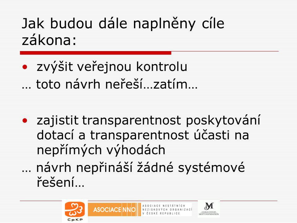 Jak budou dále naplněny cíle zákona: zvýšit veřejnou kontrolu … toto návrh neřeší…zatím… zajistit transparentnost poskytování dotací a transparentnost účasti na nepřímých výhodách … návrh nepřináší žádné systémové řešení…
