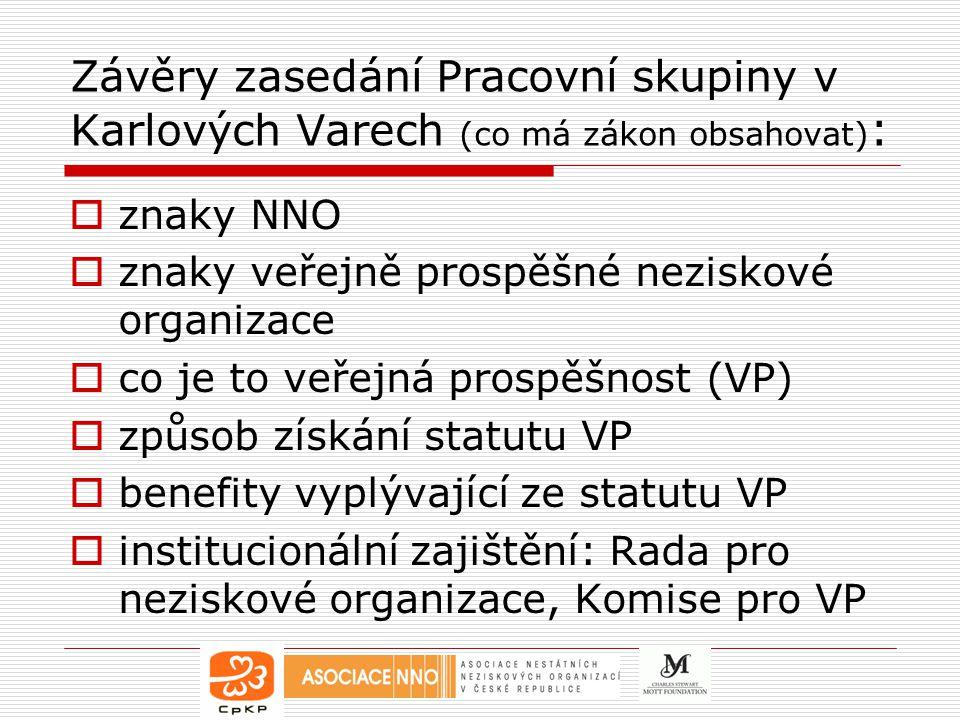 Závěry zasedání Pracovní skupiny v Karlových Varech (co má zákon obsahovat) :  znaky NNO  znaky veřejně prospěšné neziskové organizace  co je to veřejná prospěšnost (VP)  způsob získání statutu VP  benefity vyplývající ze statutu VP  institucionální zajištění: Rada pro neziskové organizace, Komise pro VP