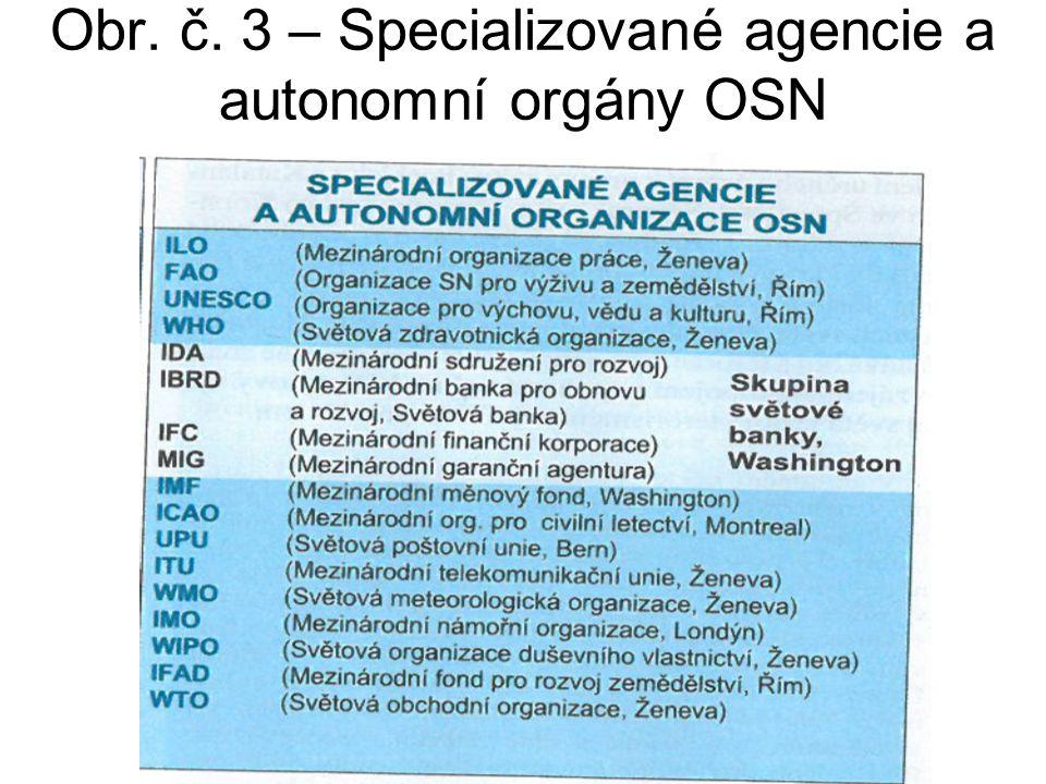 Obr. č. 3 – Specializované agencie a autonomní orgány OSN