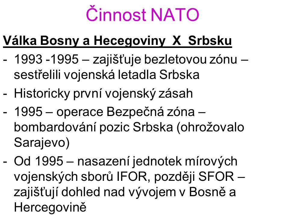 Činnost NATO Válka Bosny a Hecegoviny X Srbsku -1993 -1995 – zajišťuje bezletovou zónu – sestřelili vojenská letadla Srbska -Historicky první vojenský