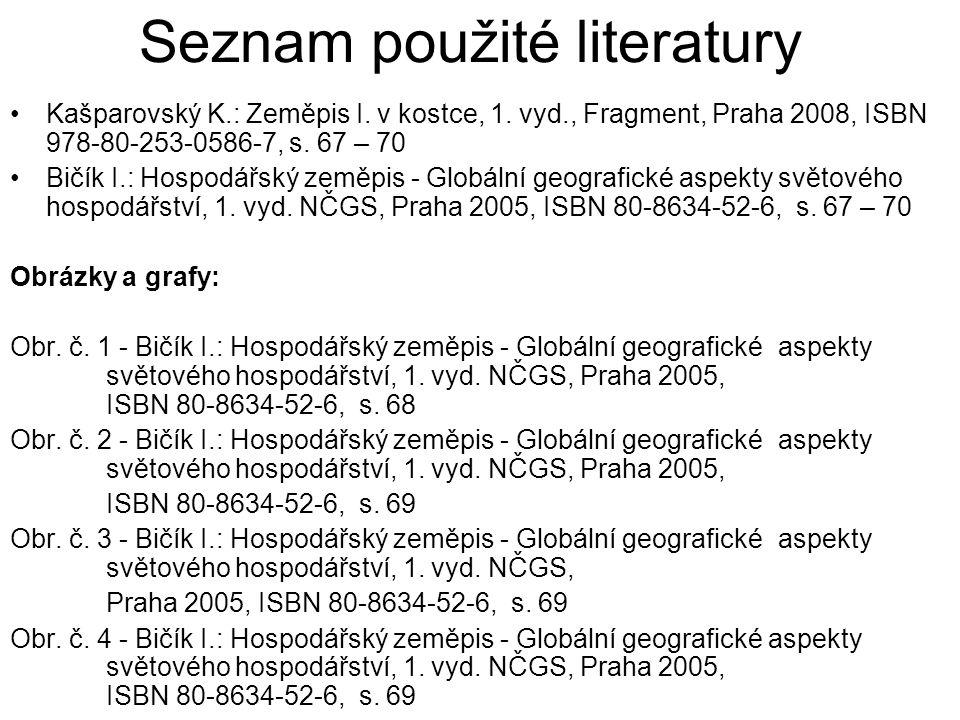 Seznam použité literatury Kašparovský K.: Zeměpis I. v kostce, 1. vyd., Fragment, Praha 2008, ISBN 978-80-253-0586-7, s. 67 – 70 Bičík I.: Hospodářský