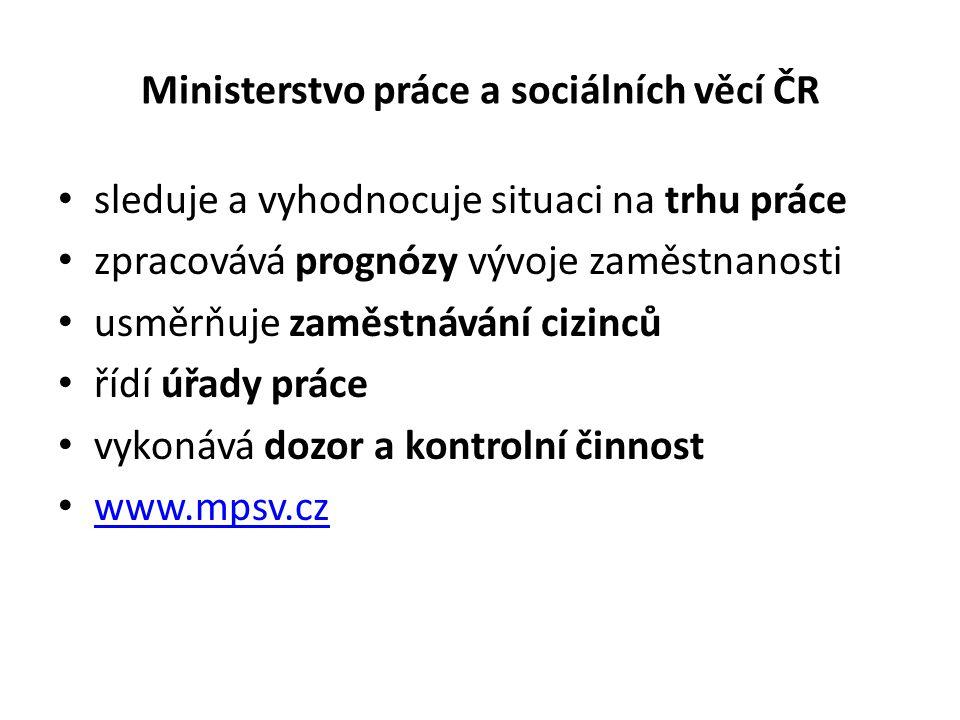 Ministerstvo práce a sociálních věcí ČR sleduje a vyhodnocuje situaci na trhu práce zpracovává prognózy vývoje zaměstnanosti usměrňuje zaměstnávání ci