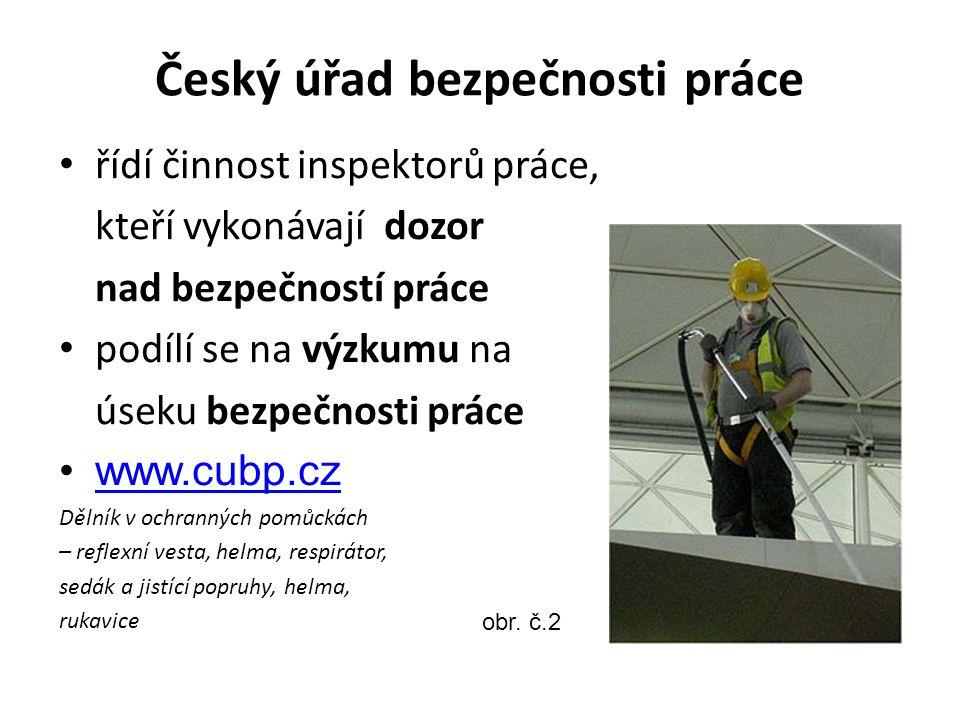 Český úřad bezpečnosti práce řídí činnost inspektorů práce, kteří vykonávají dozor nad bezpečností práce podílí se na výzkumu na úseku bezpečnosti prá