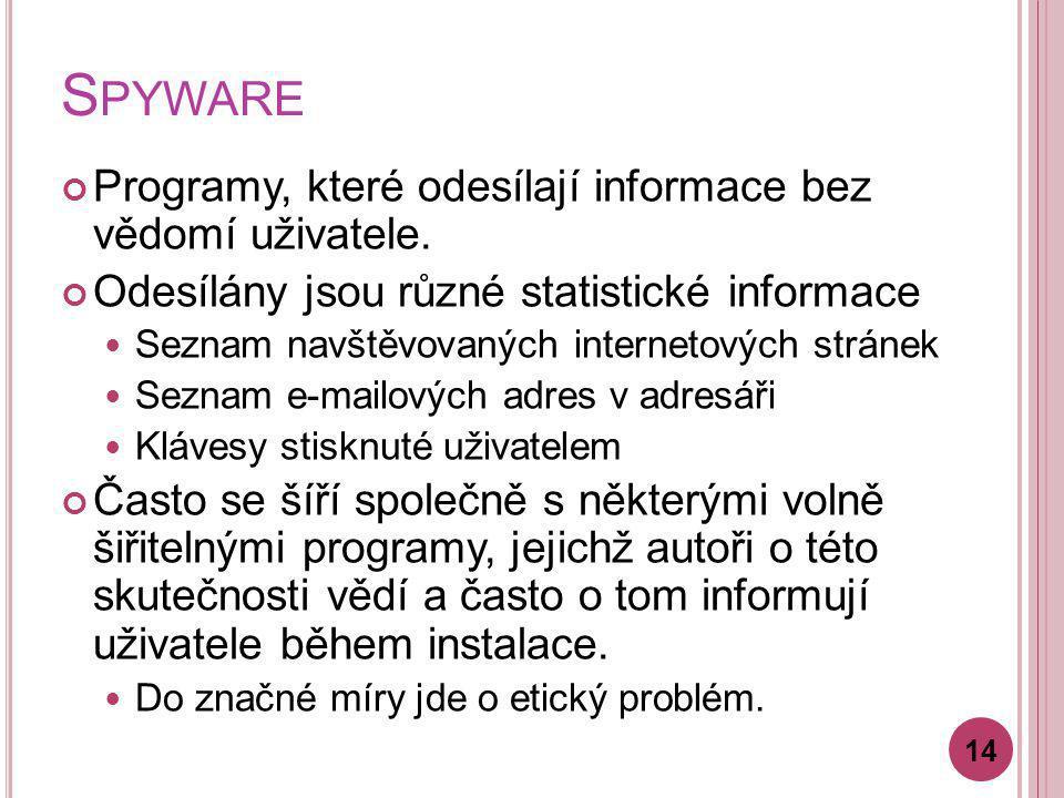 S PYWARE Programy, které odesílají informace bez vědomí uživatele. Odesílány jsou různé statistické informace Seznam navštěvovaných internetových strá