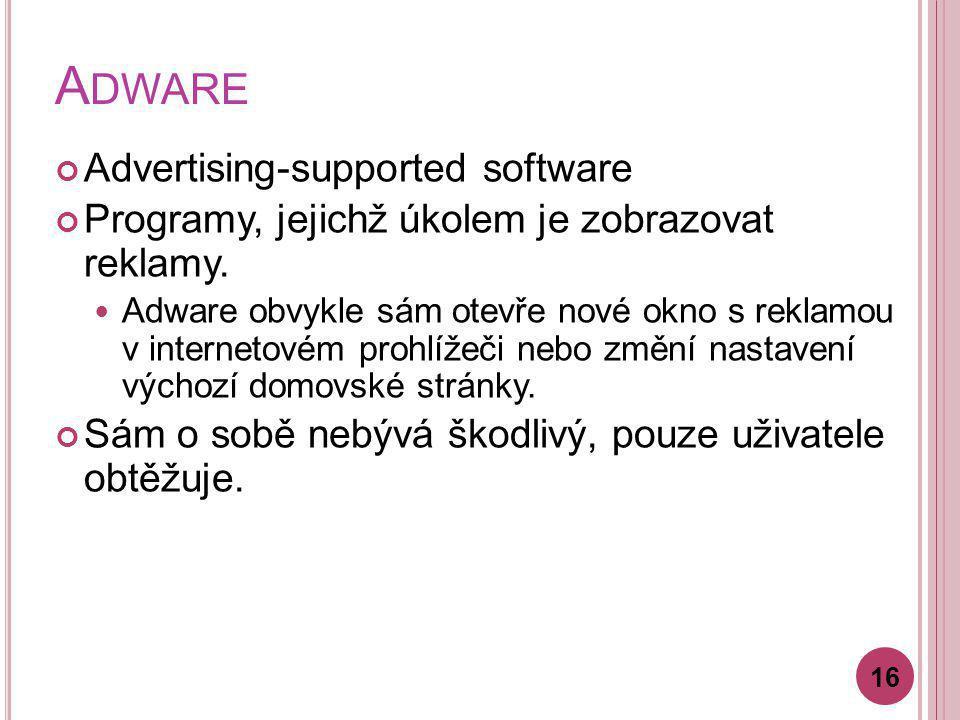 A DWARE Advertising-supported software Programy, jejichž úkolem je zobrazovat reklamy. Adware obvykle sám otevře nové okno s reklamou v internetovém p