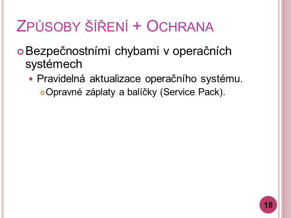 Z PŮSOBY ŠÍŘENÍ + O CHRANA Bezpečnostními chybami v operačních systémech Pravidelná aktualizace operačního systému. Opravné záplaty a balíčky (Service