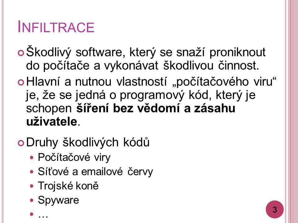 """I NFILTRACE Škodlivý software, který se snaží proniknout do počítače a vykonávat škodlivou činnost. Hlavní a nutnou vlastností """"počítačového viru"""" je,"""