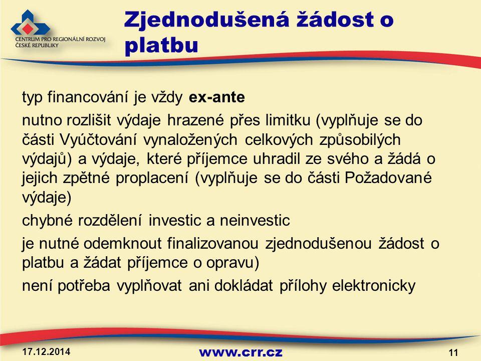 www.crr.cz Zjednodušená žádost o platbu typ financování je vždy ex-ante nutno rozlišit výdaje hrazené přes limitku (vyplňuje se do části Vyúčtování vy